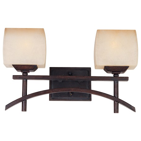 Maxim Two Light Wilshire Glass Roasted Chestnut Vanity