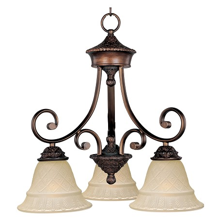 Maxim Three Light Oil Rubbed Bronze Embossed Vanilla Glass Down Mini Chandel