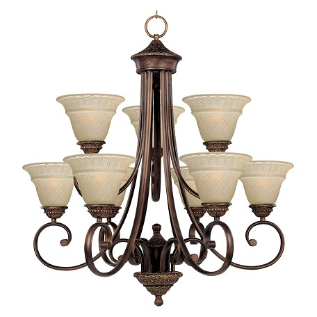 Maxim Nine Light Oil Rubbed Bronze Embossed Vanilla Glass Up Chandelier