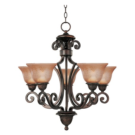 Maxim Five Light Oil Rubbed Bronze Screen Amber Glass Up Chandelier