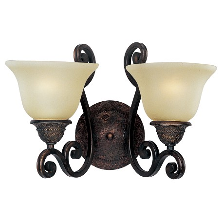 Maxim Two Light Oil Rubbed Bronze Soft Vanilla Glass Wall Light