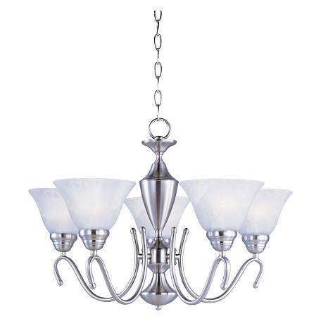 Maxim Five Light Satin Nickel Marble Glass Up Chandelier
