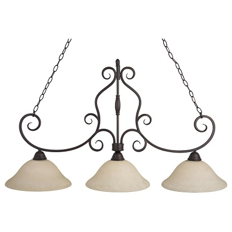 Maxim Three Light Oil Rubbed Bronze Frosted Ivory Glass Island Light