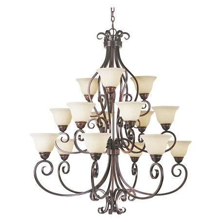 Maxim Fifteen Light Oil Rubbed Bronze Frosted Ivory Glass Up Chandelier