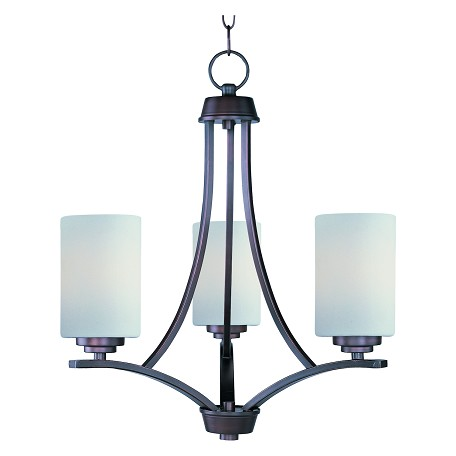 Maxim Three Light Oil Rubbed Bronze Satin White Glass Up Chandelier