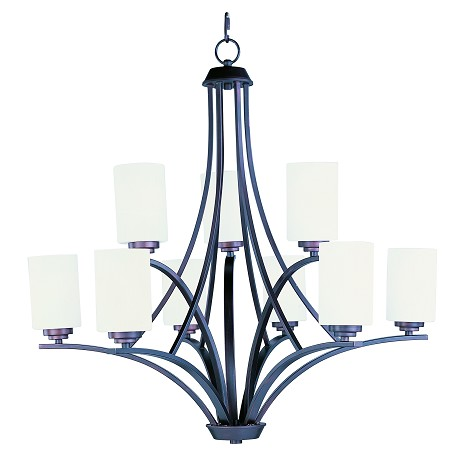 Maxim Nine Light Oil Rubbed Bronze Satin White Glass Up Chandelier
