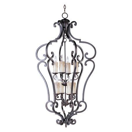 Maxim Eight Light Colonial Umber Open Frame Foyer Hall Fixture