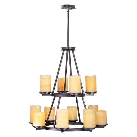 Maxim Twelve Light Rustic Ebony Stone Candle Glass Candle Chandelier