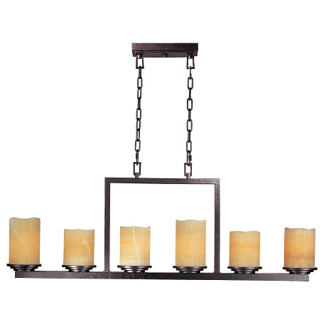 Maxim Six Light Rustic Ebony Stone Candle Glass Candle Chandelier