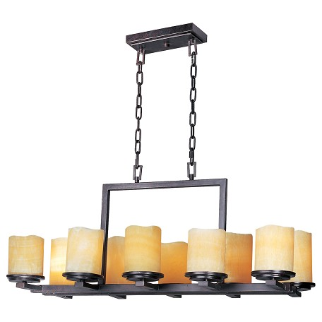 Maxim Ten Light Rustic Ebony Stone Candle Glass Candle Chandelier