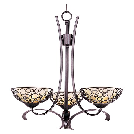 Maxim Three Light Dusty White Glass Umber Bronze Up Chandelier