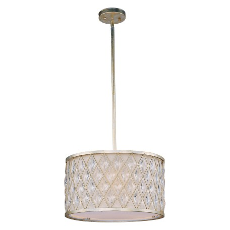 Maxim Three Light Golden Silver Drum Shade Pendant