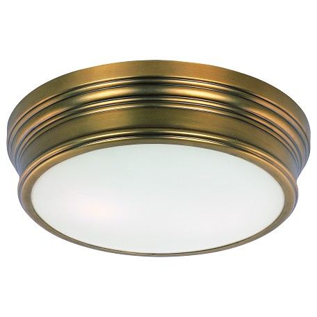 Maxim Two Light Satin White Glass Natural Aged Brass Drum Shade Flush Mount