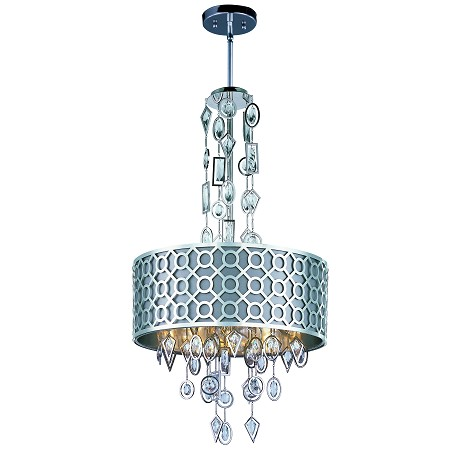 Maxim Six Light Polished Nickel Drum Shade Pendant