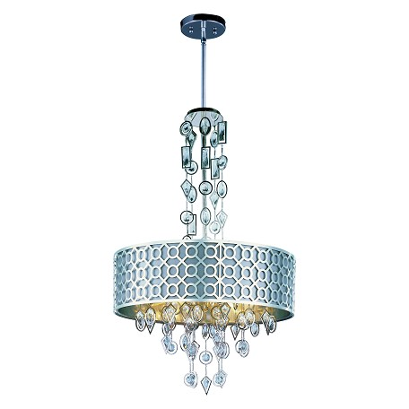 Maxim Eight Light Polished Nickel Drum Shade Pendant