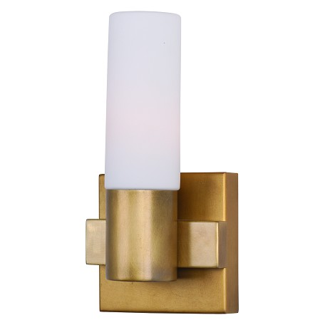 Maxim One Light Natural Aged Brass Bathroom Sconce