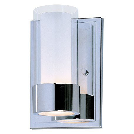 Maxim One Light Polished Chrome Clear/Frosted Glass Wall Light