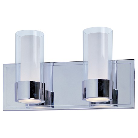 Maxim Two Light Polished Chrome Clear/Frosted Glass Vanity