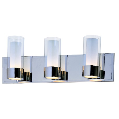 Maxim Three Light Polished Chrome Clear/Frosted Glass Vanity