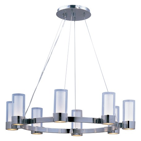 Maxim Eight Light Polished Chrome Clear/Frosted Glass Up Chandelier