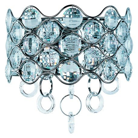 Maxim Two Light Polished Chrome Beveled Crystal Glass Wall Light