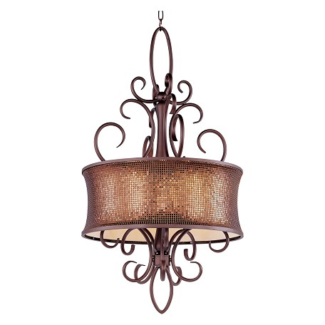 Maxim Five Light Umber Bronze Drum Shade Pendant