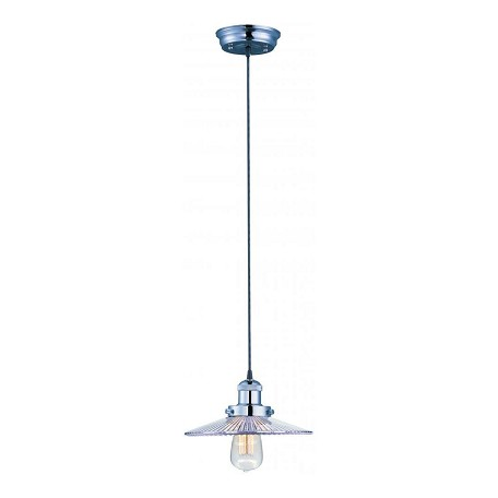 Maxim One Light Clear Glass Polished Nickel Down Pendant