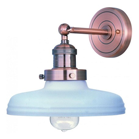 Maxim One Light Satin White Glass Antique Copper Wall Light