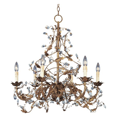 Maxim Six Light Etruscan Gold Up Chandelier