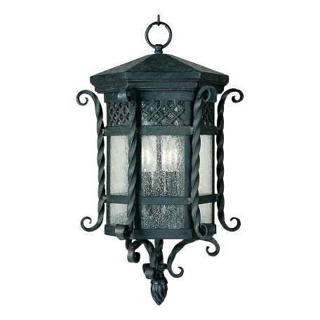 Maxim Three Light Country Forge Seedy Glass Hanging Lantern
