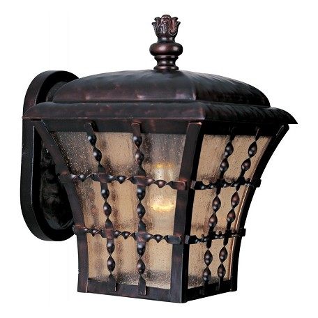 Maxim One Light Oil Rubbed Bronze Amber Seedy Glass Wall Lantern