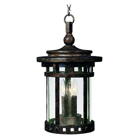 Maxim Three Light Sienna Seedy Glass Hanging Lantern