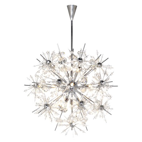 Maxim Eleven Light Polished Chrome Beveled Crystal Glass Up Chandelier