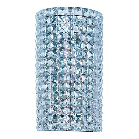 Maxim Three Light Polished Chrome Beveled Crystal Glass Wall Light