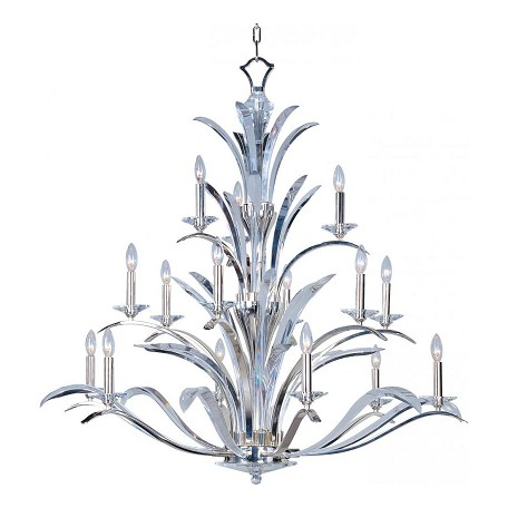Maxim Fifteen Light Plated Silver Beveled Crystal Glass Up Chandelier