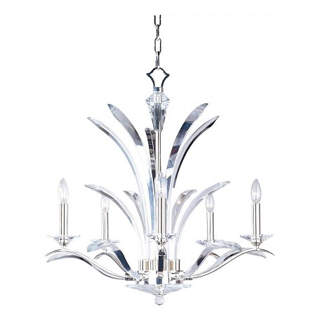Maxim Five Light Plated Silver Beveled Crystal Glass Up Chandelier