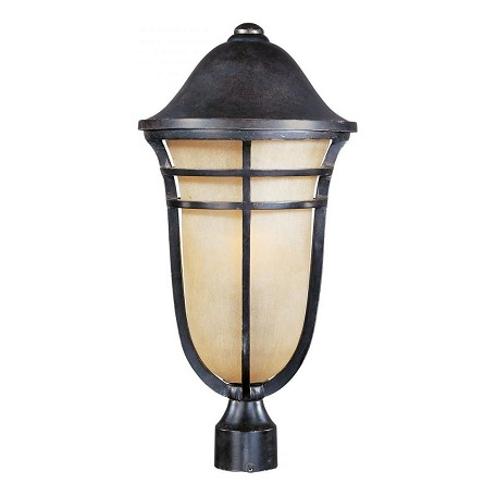 Maxim One Light Artesian Bronze Mocha Cloud Glass Post Light