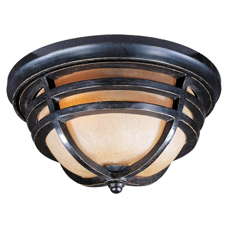 Maxim Two Light Artesian Bronze Mocha Cloud Glass Outdoor Flush Mount