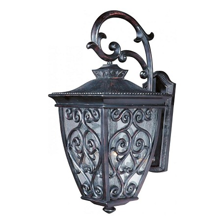Maxim Three Light Oriental Bronze Seedy Glass Wall Lantern