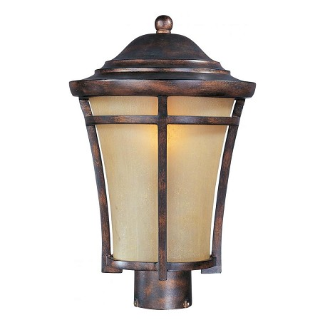 Maxim One Light Copper Oxide Golden Frost Glass Post Light