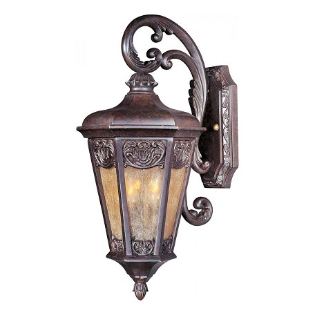 Maxim Two Light Colonial Umber Night Shade Glass Wall Lantern