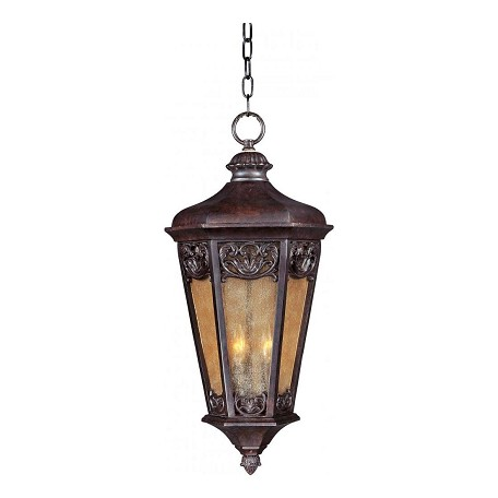 Maxim Three Light Colonial Umber Night Shade Glass Hanging Lantern