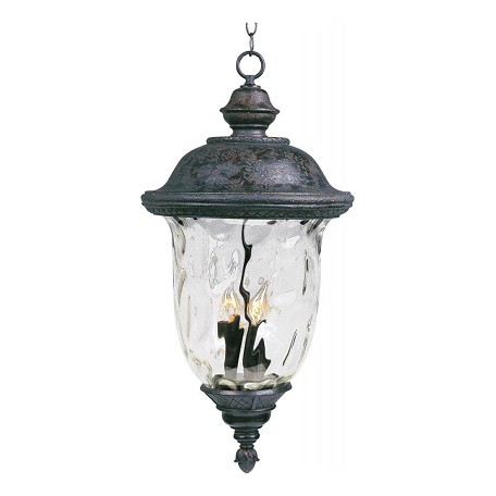 Maxim Three Light Oriental Bronze Water Glass Glass Hanging Lantern
