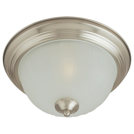 Maxim Two Light Satin Nickel Frosted Glass Bowl Flush Mount