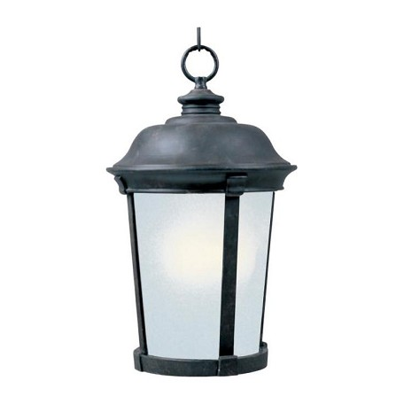 Maxim One Light Bronze Frosted Seedy Glass Hanging Lantern