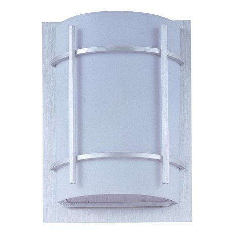 Maxim One Light White Glass Brushed Metal Outdoor Wall Light
