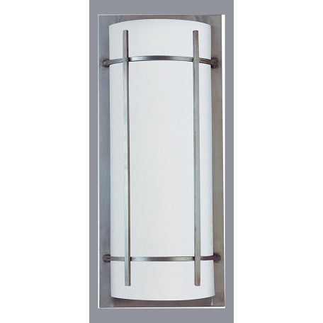 Maxim Two Light White Glass Brushed Metal Outdoor Wall Light