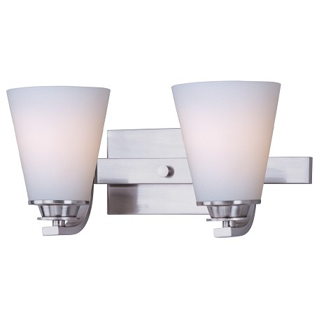 Maxim Two Light Satin Nickel Satin White Glass Vanity