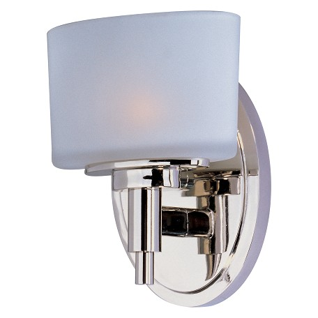Maxim One Light Satin White Glass Polished Nickel Bathroom Sconce