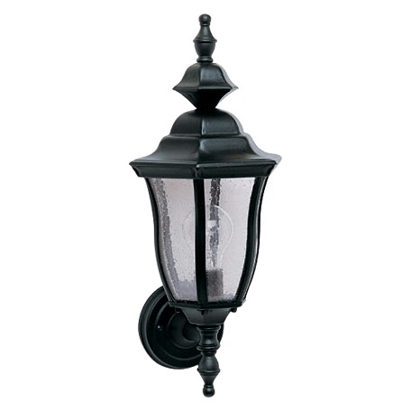 Maxim One Light Black Seedy Glass Wall Lantern